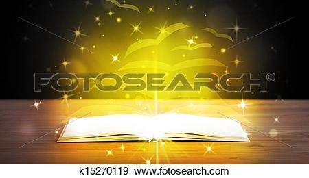 Stock Illustration of Open book with golden glow flying paper.