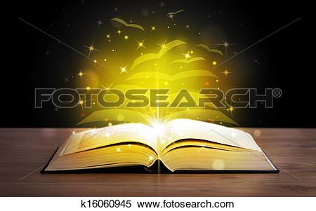 Stock Image of Open book with golden glow flying paper pages.