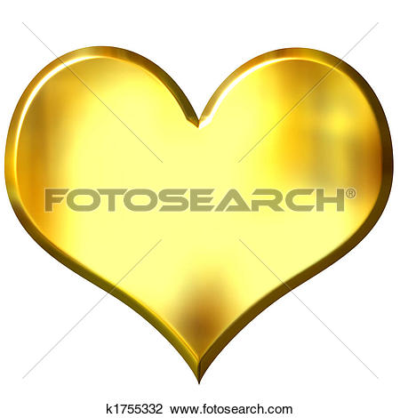Drawing of 3d golden heart with combined gender signs k1287143.