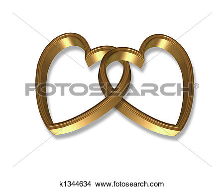 Stock Illustration of Linked Gold Hearts 3D k1250165.