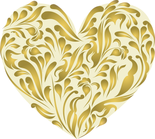 Gold Heart Clipart No Background.