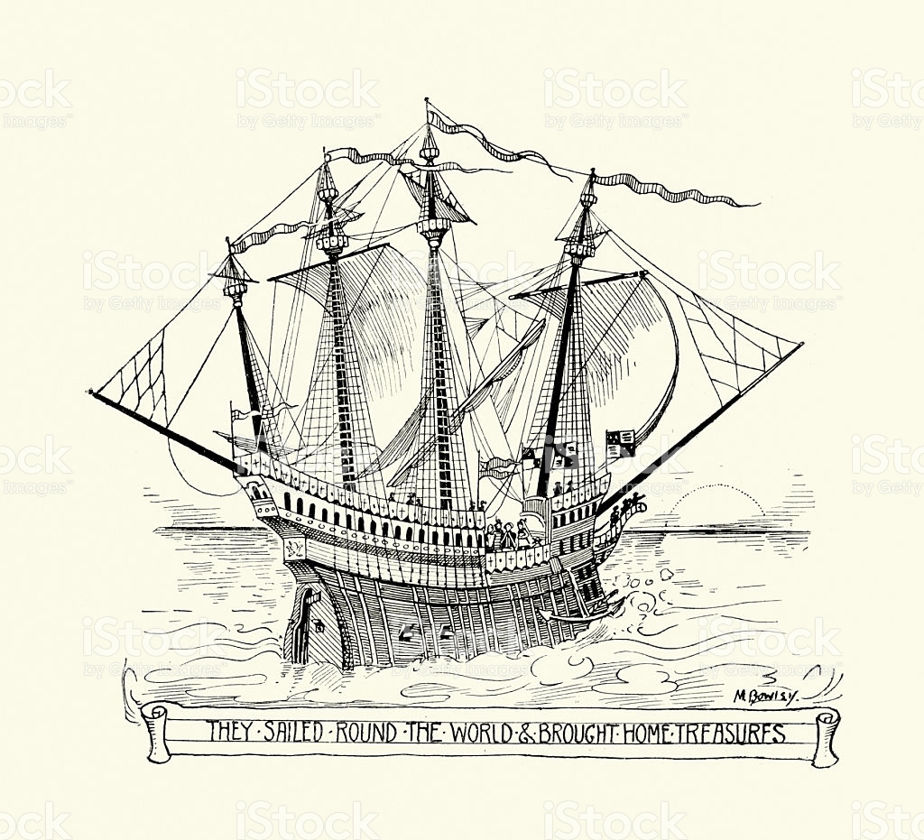 Golden Hind Captained By Sir Francis Drake stock vector art.