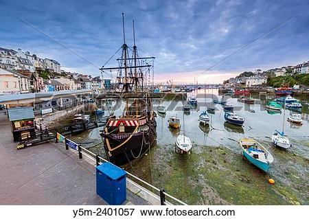 Picture of Replica of the English galleon, Golden Hind, in Brixham.