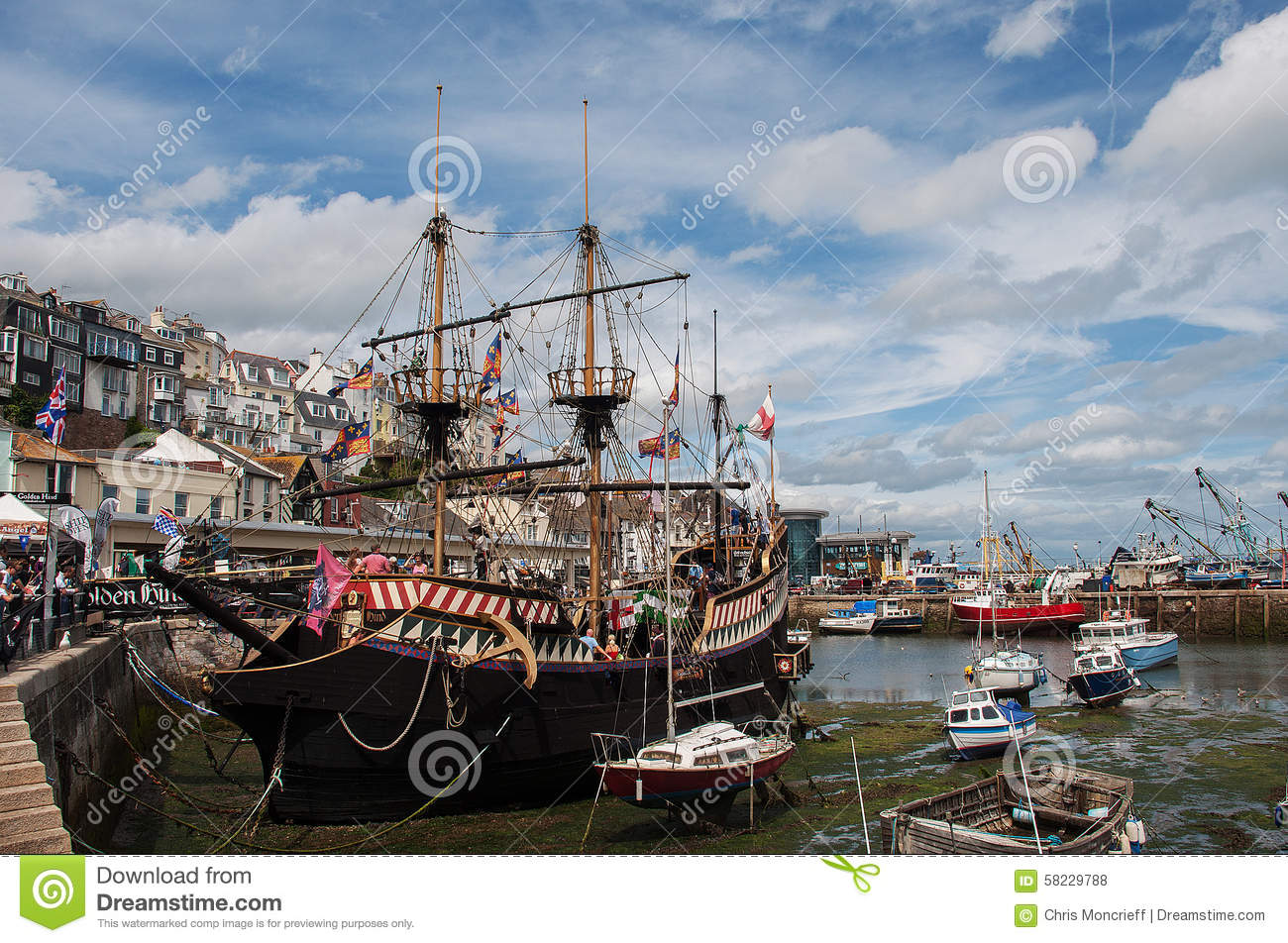 The Golden Hind In Brixham Harbour Editorial Stock Photo.