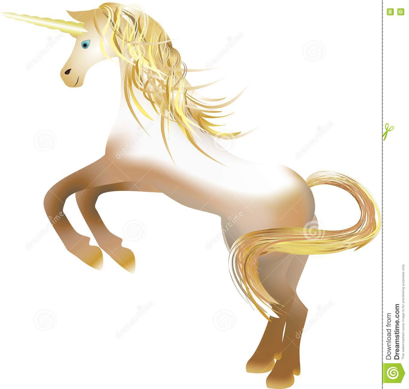Unicorn With The Golden Horn Stock Photo.