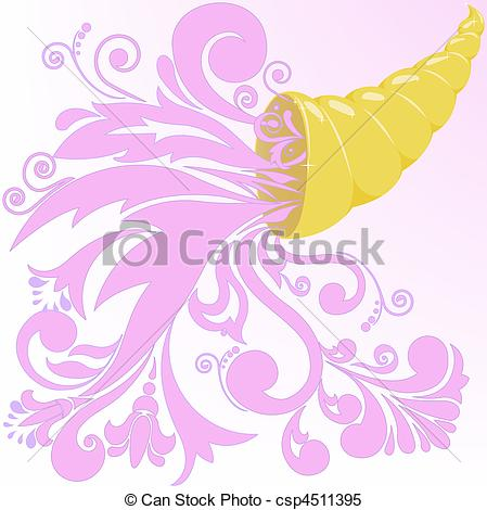 Clipart Vector of golden horn of plenty with a pink floral.