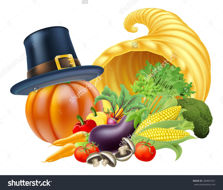 Thanksgiving Golden Horn Plenty Cornucopia Full Stock Vector.