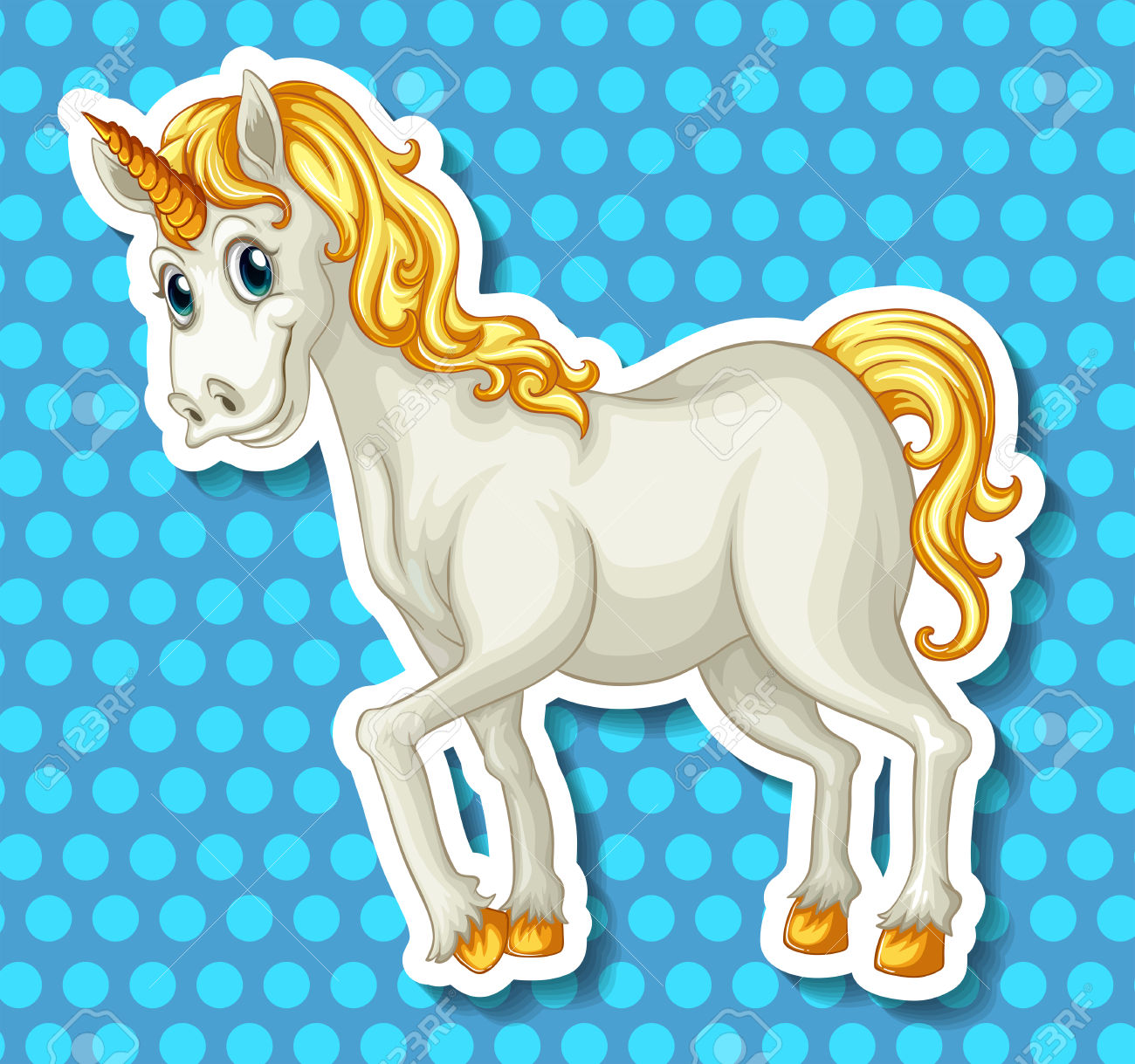 Close Up White Unicorn With Golden Horn Royalty Free Cliparts.