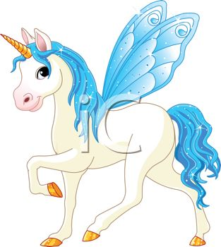 Royalty Free Clip Art Image: Pegasus Unicorn with Blue Wings and a.