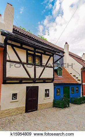 Stock Photograph of Little medieval houses on Golden Lane,Praha.
