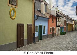 Stock Photo of Little medieval houses on Golden Lane,Praha.