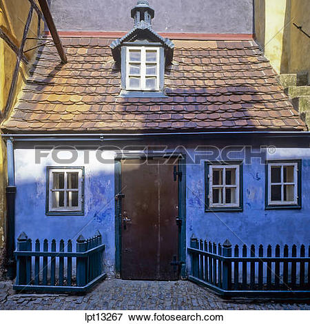 Picture of Medieval blue house in Golden Lane, Prague, Czech.