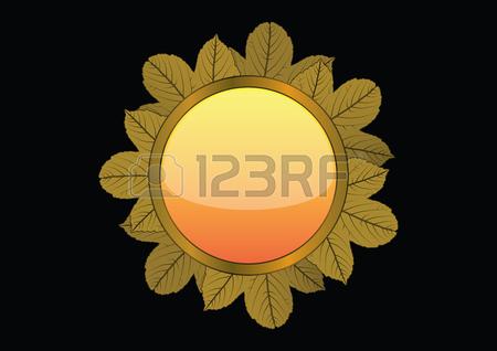 Golden Leaf Circle Brooch On Black Background, Vector Illustration.