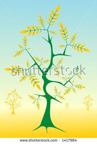Green Tree Golden Leaves Illustration Stock Vector 1417984.