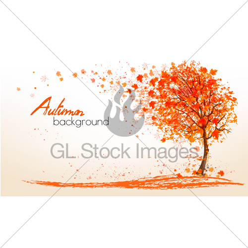 Autumn Background With A Tree And Golden Leaves. Vector. · GL.