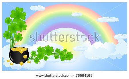 Border Clover Rainbow Stock Photos, Royalty.
