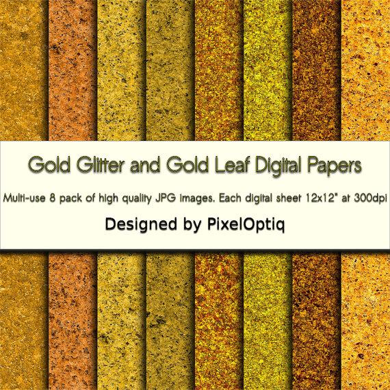 Gold Glitter Digital Paper Gold Leaf Digital by PixelOptiq.
