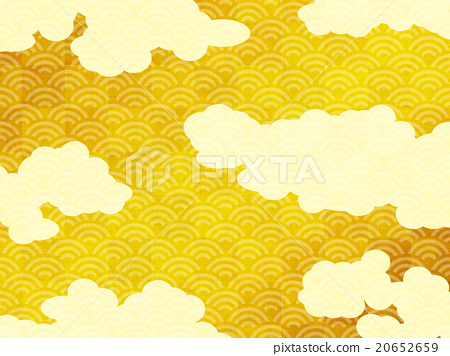 gold leaf, folding screen covered with gold leaf, cloud.