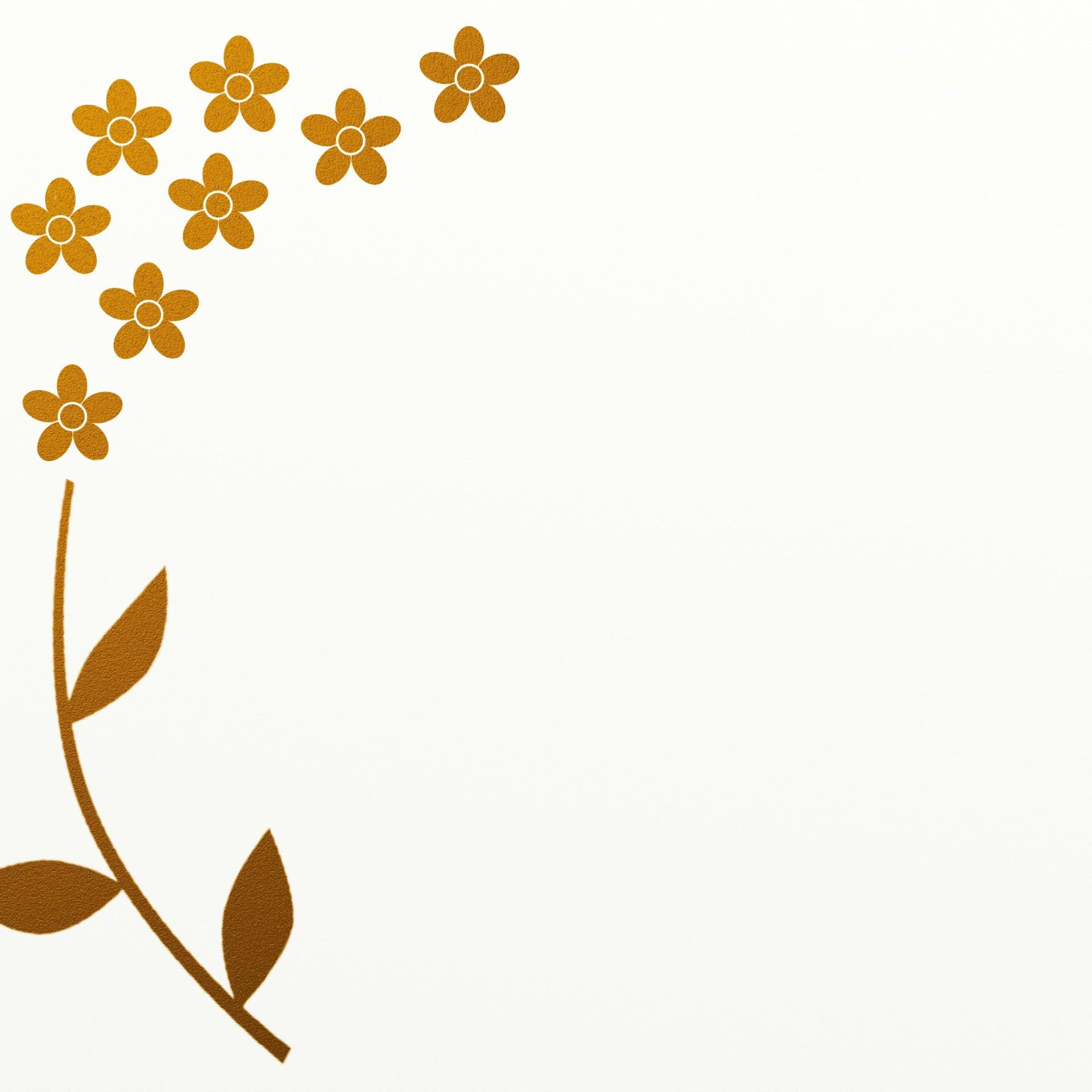 Gold Leaf Flower Border Free Stock Photo.