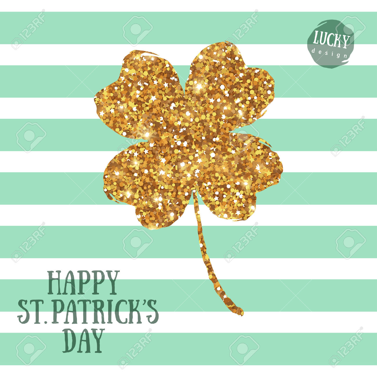 Happy St. Patrick's Day Greeting Card With Gold Four Leaf Clover.