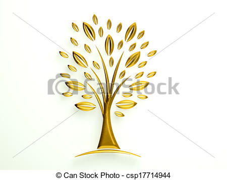 Drawing of Golden Tree Logo with styled leaves csp17714944.