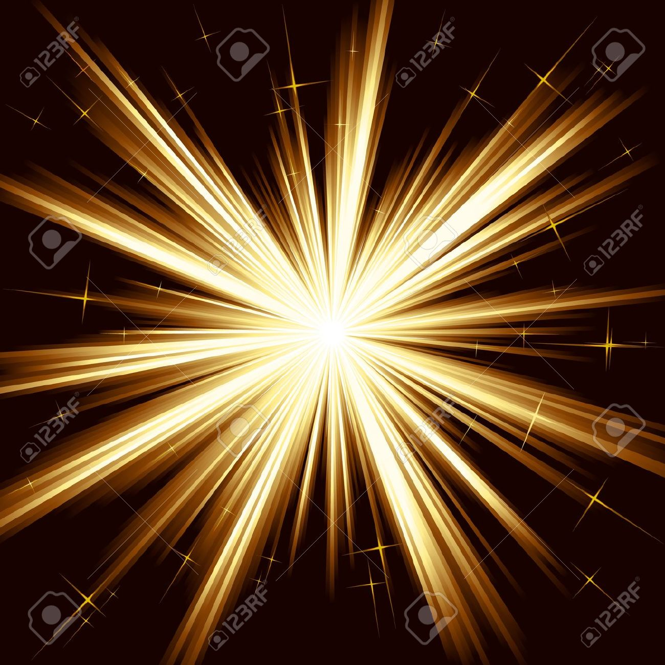 Brown Golden Light, Star Burst; Stylized Fireworks With Little.