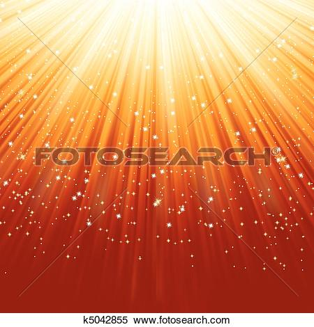 Clipart of Snowflakes and stars on golden light. EPS 8 k5042855.