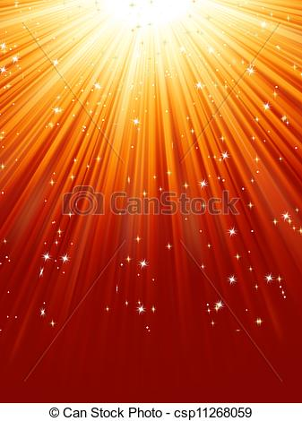 Clipart Vector of Red golden light burst with sparkling stars. EPS.