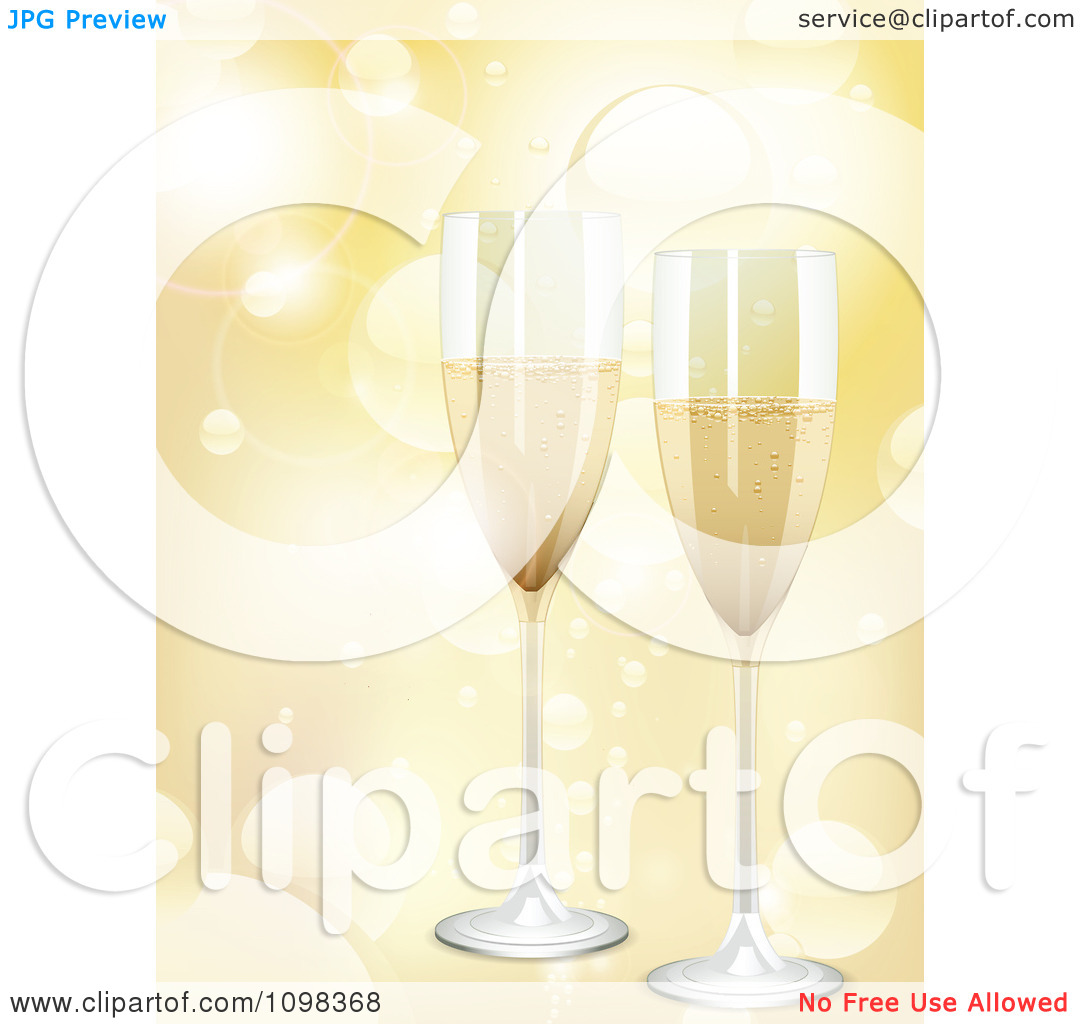 Clipart 3d Romantic Champagne Flutes Over Golden Light Flares.
