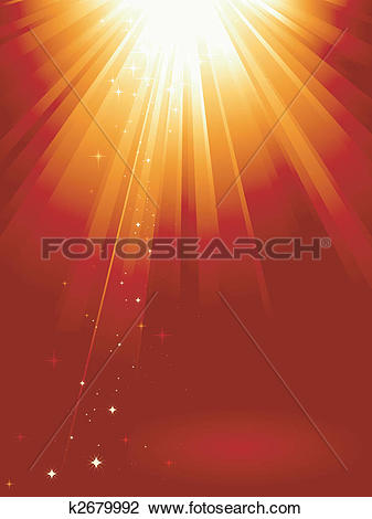 Clipart of Red golden light burst with stars k2679992.