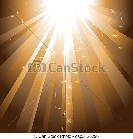 Clip Art Vector of Sparkling stars descending on golden light.