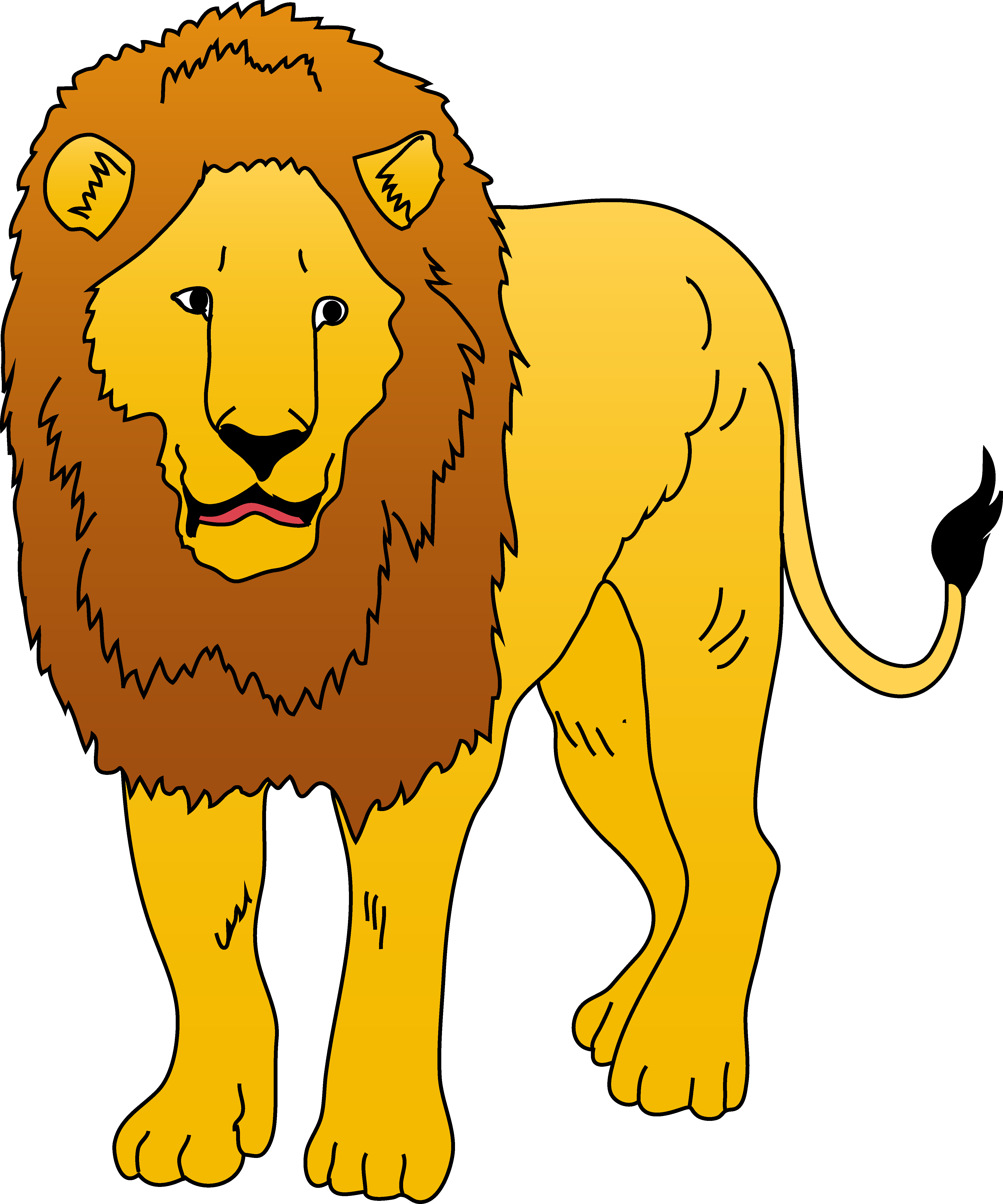 Golden Lion Clipart Illustration.
