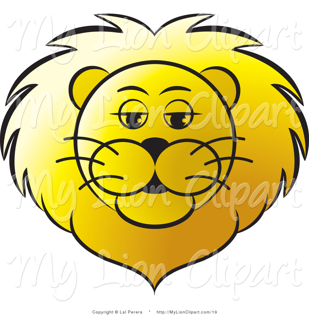 Vector Clipart of a Golden Lion Face by Lal Perera.