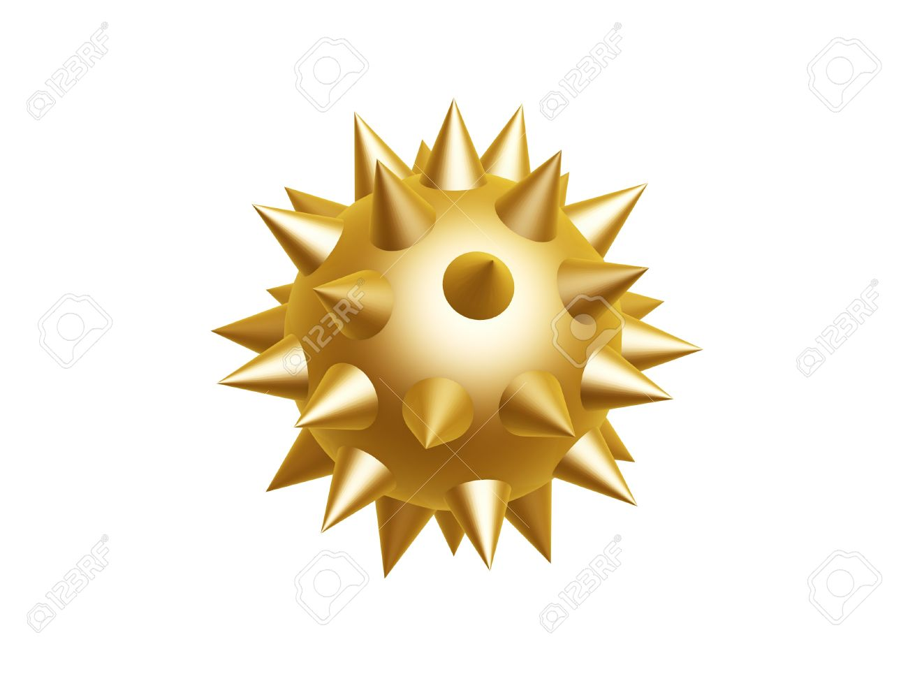 Golden Morning Star Isolated On White Background Stock Photo.