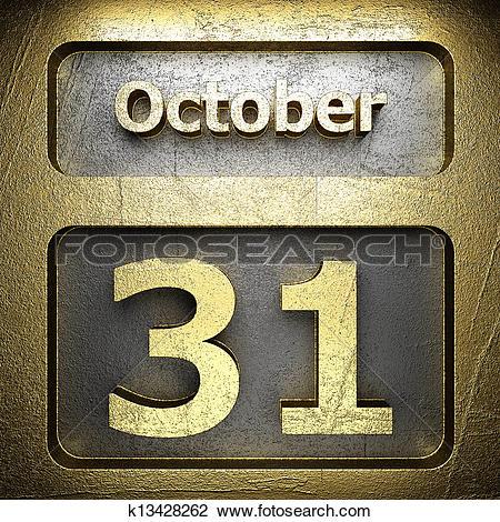 Clip Art of october 31 golden sign k13428262.