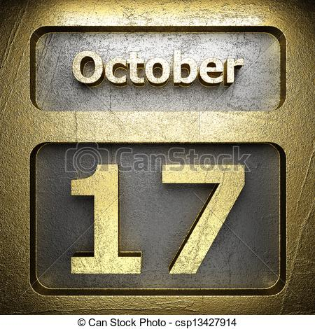 Clipart of october 17 golden sign on silver csp13427914.