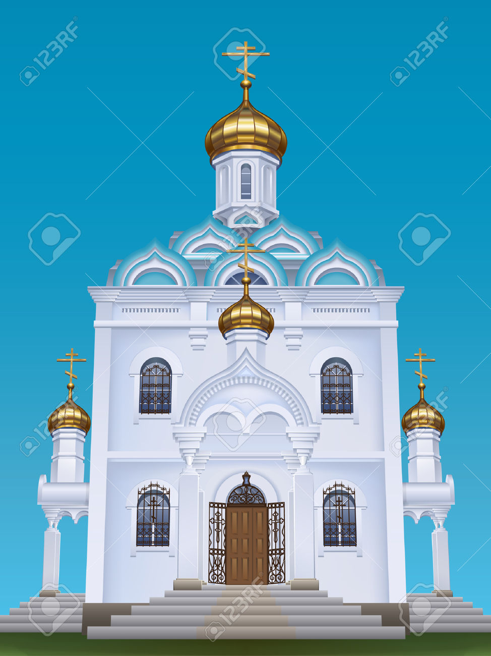 Russian Orthodox Church With Typical Golden Onion Domes Royalty.