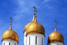 Golden Onion Domes Of Kremlin Cathedral Stock Photo.