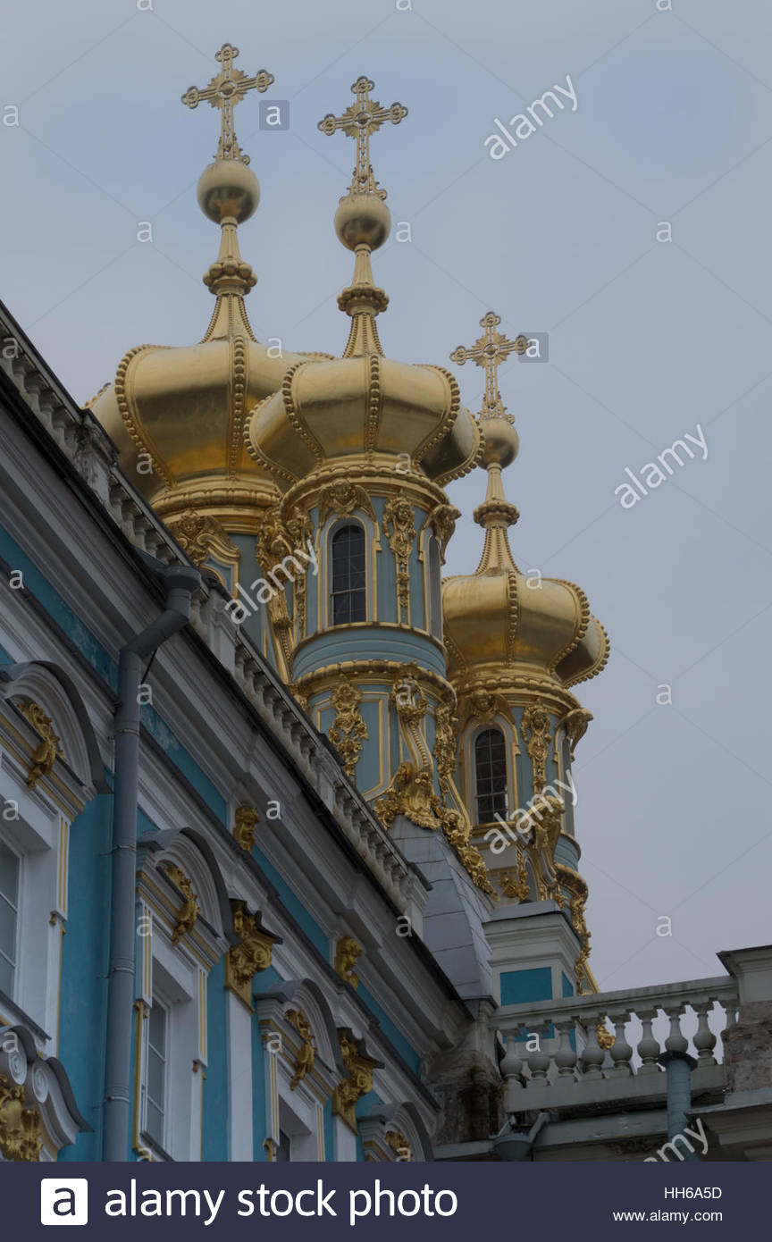 Close Up Of The Gold Onion Domes And Orthodox Crosses Of The.