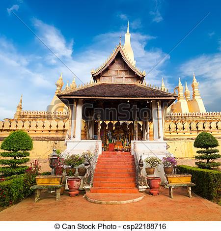Stock Photography of Laos travel landmark, golden pagoda wat Phra.