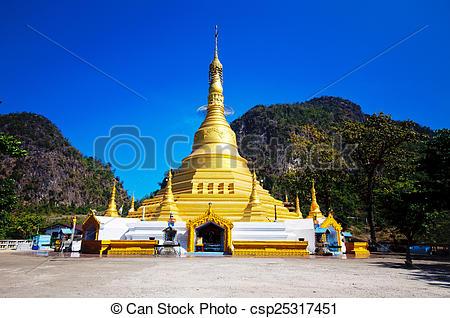 Stock Images of Golden Pagoda at Tai Ta Ya Monastery or Sao Roi.