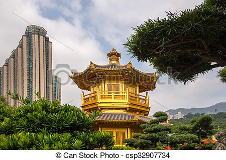 Stock Photos of Beautiful Golden Pagoda Chinese style architecture.
