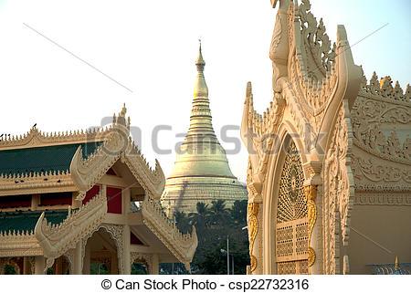 Stock Photography of Golden Pagoda in Myanmar temple ,Yangoon.