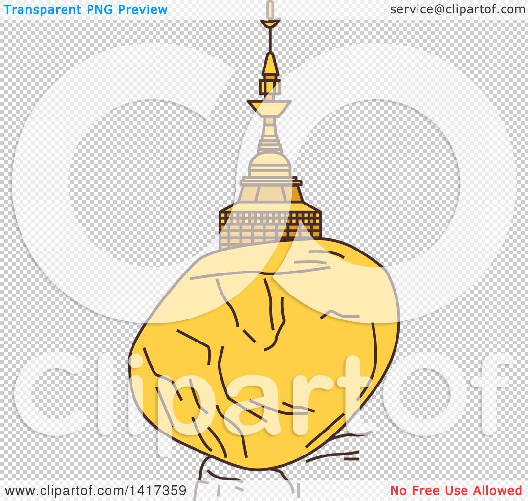 Clipart of a Burma Landmark, Kyaiktiyo Pagoda, Golden Rock.
