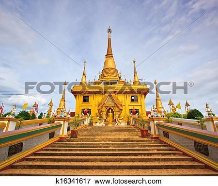 Picture of Golden pagoda at Wat Khiri Wong Temple in Nakhon Sawan.