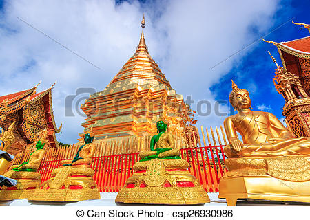 Pictures of Golden pagoda wat Phra That Doi Suthep chiangmai.