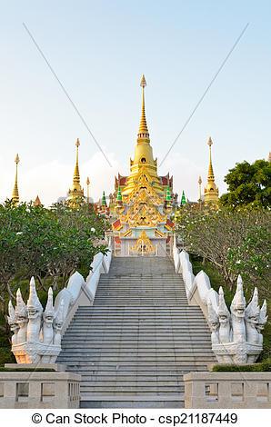Stock Photo of Stairs to golden pagoda Phra Mahathat Chedi Phakdi.
