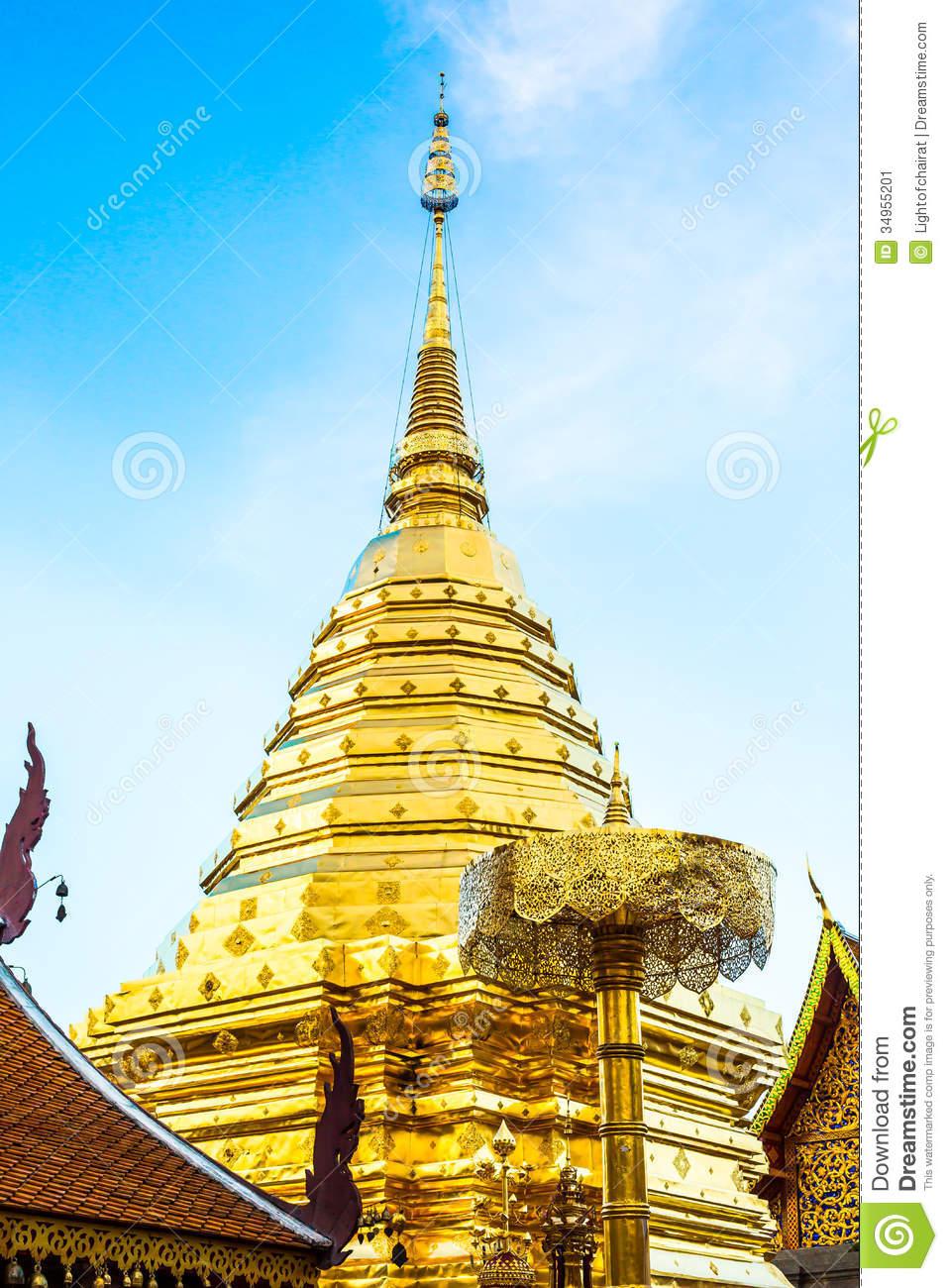 Golden Pagoda Wat Phra That Doi Suthep,chiangmai ,Thailand Stock.