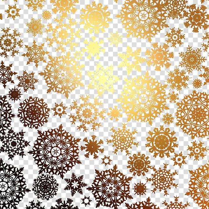 Snowflake Christmas Pattern, Golden snowflake pattern.