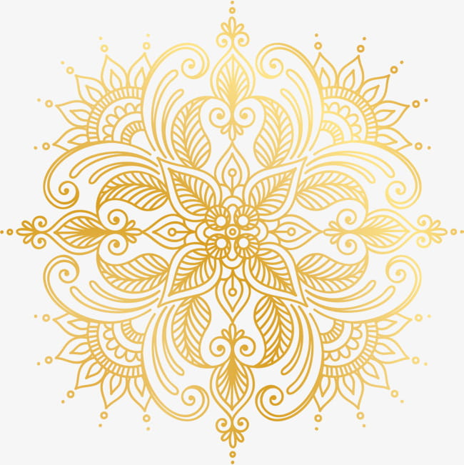 Golden pattern of flowers PNG clipart.